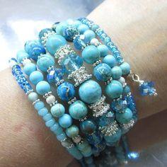 Ocean Blue Mermaid Memory Wire Wrap Gemstone Bracelet