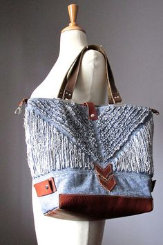 Distressed denim bag tote bag leather bag by VitalTemptation, $160.00