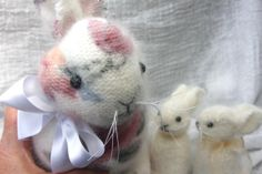 Angora Bunny Family eco friendly hand sewn fuzzy by woolcrazy, $72.00 #easter #bunnies #ecofriendly