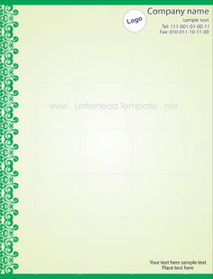 Green Lace Letterhead Template Preview