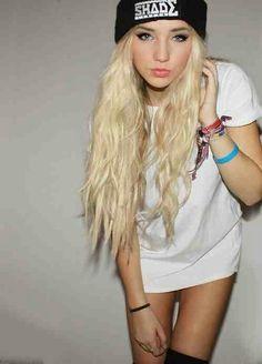 Wavy Bleach Blonde Hair.