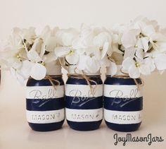 Set of 3 navy blue and white striped mason jars by JoyMasonJars