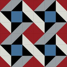 Premium Solids quilt block in red, blue, black, and grey
