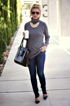 Perfect Shade of Grey: long gray turtle neck sweater, skinny jeans, heels