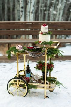 Vintage brass + glass bar cart dressed for Christmas Wedding // bar cart style // holiday wedding // holiday events // wedding style // dessert bar // drink cart // dress for the holidays // christmas style // holiday style // christmas wedding // vintage rentals // vintage bar cart // brass cart // retro styling #vintagerentals #vintagebarcart #christmaswedding #holidayweddingstyle Elegant Wedding Themes, Wedding Reception Decorations, Wedding Designs, Wedding Ideas, Christmas Themes, Christmas Holidays, Christmas Goodies, Gerbera, Winter Wedding Colors