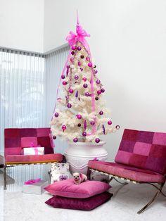 Árvores de Natal -arvore de natal branca com rosa