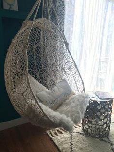 Knotted Melati Hanging Chair by Anthropologie in White Size: All, Chairs – Macrame Cute Room Decor, My New Room, My Room, Room Ideas Bedroom, Bedroom Decor, Bedroom Small, Restaurant Tables And Chairs, Mid Century Dining Chairs, Home Decor Ideas