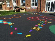 WET POUR RUBBER FLOORING. artificial grass school playground