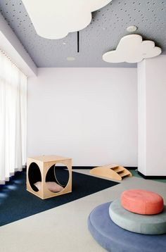 From design-forward schools to trendy day care centers, these kids' spaces play around with style in the best way possible Kids Cafe, Custom Sofa, Higher Design, Kids Store, Kids Corner, Restaurant, Kid Spaces, Childcare, Kids Playing