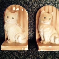 Vintage Cat Lover Bookends Chalk ware  | eBay