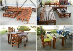 My creations all made entirely from repurposed pallets such as a big garden lounge with its coffee table, a table and the associated chairs.      #PalletChair, #PalletLounge, #PalletSofa, #PalletTable, #RecycledPallet