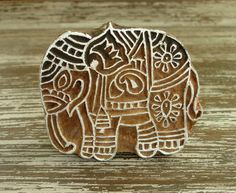 Indian Elephant Stamp: Hand Carved Wood Printing Block from India, Wooden Textile Pottery Clay Ceramic Stamp, Feng Shui Symbol, by DelhiDaze, $14.00