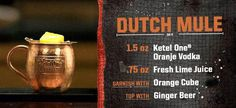 """""""This Dutch Mule drink recipe is a simple yet delicious way to celebrate Famous Cocktails, Vodka Cocktails, Cocktail Drinks, Cocktail Recipes, Mule Drink, Ketel One Vodka, Happy Drink, Mule Recipe, Alcholic Drinks"""