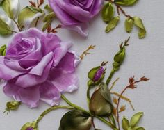 Painting with roses. Embroidery ribbons. Handmade.