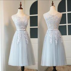 Short Prom Dresses,Lace Appliques Prom Dresses,Tea Length Prom Dresses,Baby  Blue 6311c3ef35
