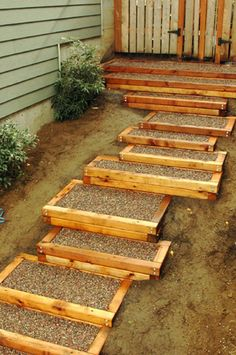 Here are some outdoor wood framed cement stairs.
