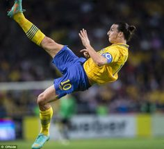 Zlatan Ibrahimovic unleashes his incredible overhead kick after leaping six feet into the air to score the wonder goal that fired Sweden to a 4-2 victory over England