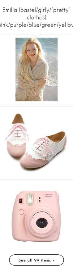 """Emilia (pastel/girly/""pretty"" clothes) pink/purple/blue/green/yellow"" by flxwerfield ❤ liked on Polyvore featuring shoes, oxfords, flats, zapatos, lace up flat shoes, oxford flats, oxford lace up shoes, multi color flats, colorful shoes and fillers"