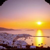 Sunset over Greece Mykonos, Santorini, Greece Wallpaper, Republic Of Venice, Most Beautiful Wallpaper, Country Landscaping, Vacation Places, Great Shots, Worlds Largest