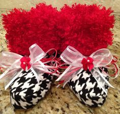 Houndstooth with Red Minky Cuddly Snugglies by TutuBeautifulbyCiwi