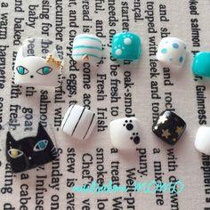 白猫&黒猫ネイル♡