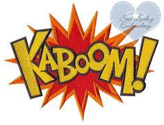 Superheld macht KABOOM Wort (Applique) gestickter Patch, nähen oder Eisen zu Ihrer Wahl