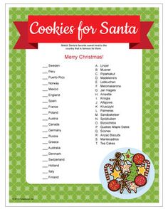 Cookies for Santa Cookie Swap game - match each country with the cookie or sweet that originated there. Printable Christmas games.
