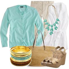 White, khaki pants, with light teal- pretty combination
