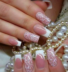 Wedding nails too long for me, but LOVE the idea