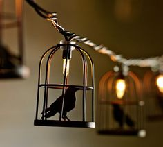 I need these all year round. Caged Crow String Lights - Halloween decor.  Pottery Barn