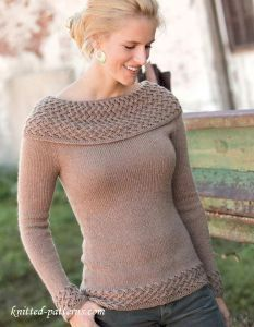 Cowl neck pullover knitting pattern free