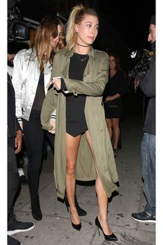 For a night out in Los Angeles, Baldwin topped off her LBD with an olive green Forever 21 trench coat that's currently on sale for just $23.99. - HarpersBAZAAR.com