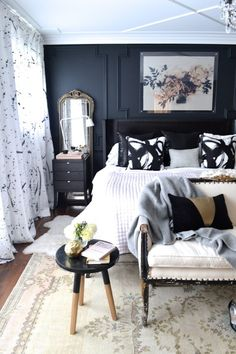 All white everything has been trending for sometime now, but I can't help but to be attracted to the dark and moody bedrooms look. There's something...