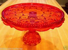 L E Smith Glass Red Amberina Moon and Star Pedestal Cake Plate Stand