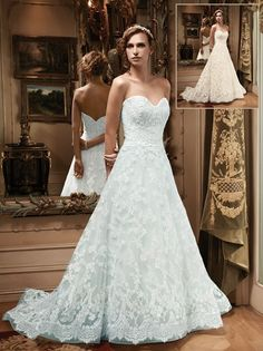Landybridal A Line Sweetheart Court Train Lace Blue Wedding Dress