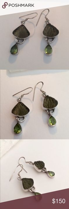 """Genuine Moldavite  and Peridot Earrings Beautiful and Rare! Genuine Moldavite with Gorgeous color Natural Peridot Gemstones. These beautiful and Powerful Earrings were purchased at a metaphysical Store in Cassadaga Florida. Solid Sterling Silver. 🌟 Moldavite is a very powerful Stone for Manifesting Change. And is becoming exceedingly more difficult to find. 1 1/2"""" to top of Earwires Jewelry Earrings"""