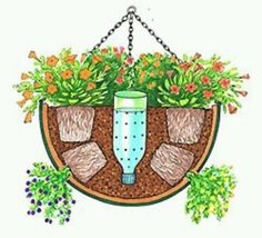 self watering hanging basket - Need to try this for the hanging baskets on the porch. self watering hanging basket - Need to try this for the hanging baskets on the porch.