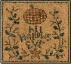 Primitive Cross Stitch Pattern  All Hallows by FiddlestixDesign.  Design by Teresa Kogut