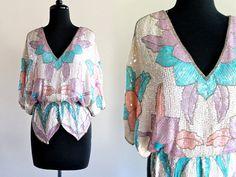 80s Judith Ann Silk Sequin Beaded Floral Art Deco Blouson Draped Batwing Glam Luxe Blouse Top Shirt . SML . D233 . No.282.4.27.13