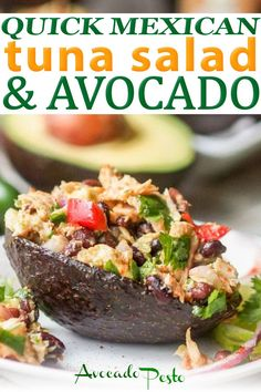 Mexican Tuna Salad! Skip the heavy mayo and make this tuna salad with avocado instead. 10 ingredients and tons of flavor. A perfect quick lunch or weeknight dinner. Gluten Free and Dairy Free. Ready in 20 mins with 30g of protein per serving! A perfect low carb Cinco de Mayo recipe! | @avocadopesto #mexicantunasalad #glutenfreediet #glutenfreetunasalad #healthytunasalad #avocadorecipe #healthylunchideas Quick Weeknight Dinners, Quick Dinner Recipes, Lunch Recipes, Healthy Recipes, Avocado Recipes, Fish Recipes, Seafood Recipes, Dairy Free Recipes, Gluten Free Diet