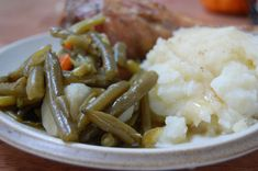 Recipes: Grandpa's Long Simmered Green Beans with Bacon and Dairy Free Mashed Potatoes - These long simmered green beans are infused with flavor from bacon, potatoes, celery and carrots. This old time method is a favorite way to enjoy green beans.