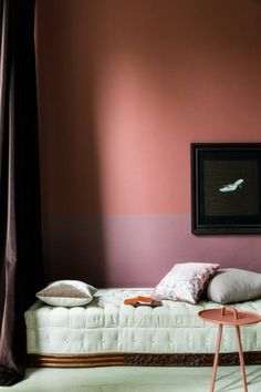 "8 Steps to Color Confidence: Step Learn This Modern Twist on Classic Paint Color Combinations - I love this room from Dulux Valentine, which pairs ""fig"" and ""chocolate"" with little contrast. Again, it's two smoky, warm colors that appear natural."