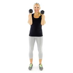 Hammer Curl-Step 1: Begin by standing with feet shoulder-‐width apart, arms hanging at your sides with a dumbbell in each hand with palms facing in.  Step 2: Curl the dumbbell in toward the shoulders, keeping the palms facing each other. Slowly return the dumbbells back to your sides