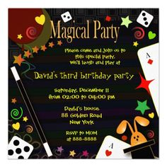 Shop Kids birthday invitation 043 Magical Party created by adellaandmella. Personalize it with photos & text or purchase as is! Holiday Party Invitation Template, Kids Birthday Party Invitations, Birthday Party Themes, Birthday Ideas, Invitation Templates, Magician Party, Magic Birthday, 5th Birthday, Magic Theme