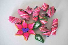Pink Flower with twisted beads Polymer Clay Lot 6