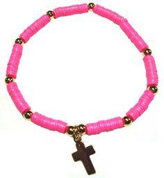 HOT PINK Vinyl Disc Cross Bracelet