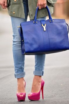 Love the bag.  Cute shoes - wish I could wear.  Season-less Blue Bags