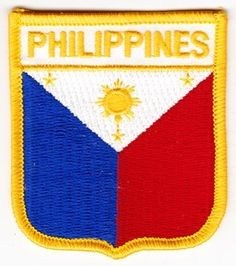 """Philippines - Country Shield Patches by Flagline. $2.75. 2.5"""" x 2.75"""" Shield Patch. Our shield patches feature each country's flag below the name, and can be sewn on or ironed on. Actual size is approximately 2.5"""" x 2.75"""". (""""Flagline.com"""" does not appear on the item.). Save 30%!"""