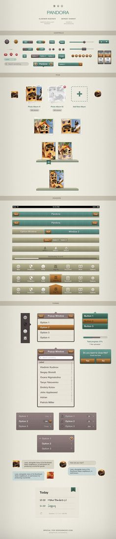 Pandora User Interface Kit for iOS Devices by Vladimir Kudinov, via Behance