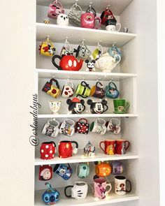 disney cups mugs collection. mugs collection. mugs collection. mugs collection. Disney Diy, Disney Dumbo, Casa Disney, Disney Rooms, Disney Kitchen Decor, Disney Home Decor, Photos Folles, Disney Tassen, Coffee Mug Display